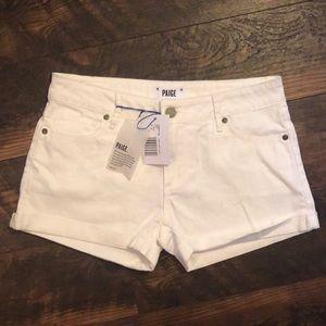 $149 Paige White Cuffed Denim Jean Shorts